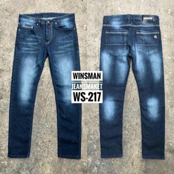 กางเกงยีนส์ชายทรงกระบอกเล็กกึ่งเดฟ WS217