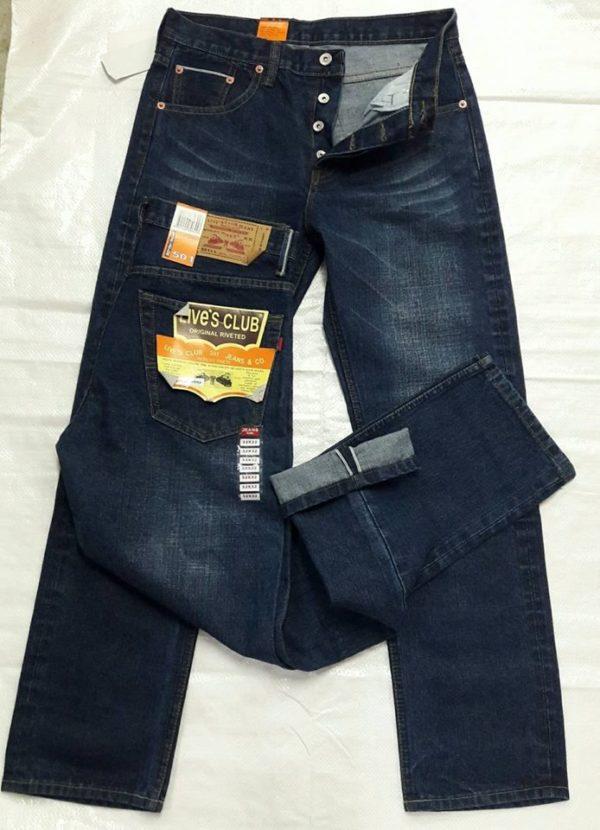 กางเกงยีนส์ชายทรงกระบอกตรงผ้าดิบ ลีวายสีฟอก