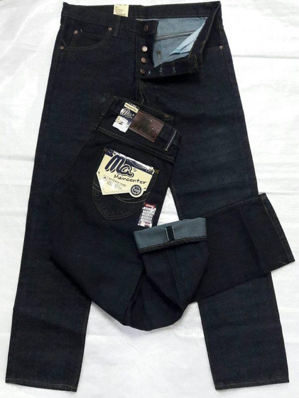กางเกงยีนส์ชายทรงกระบอกตรงMCสีดำ