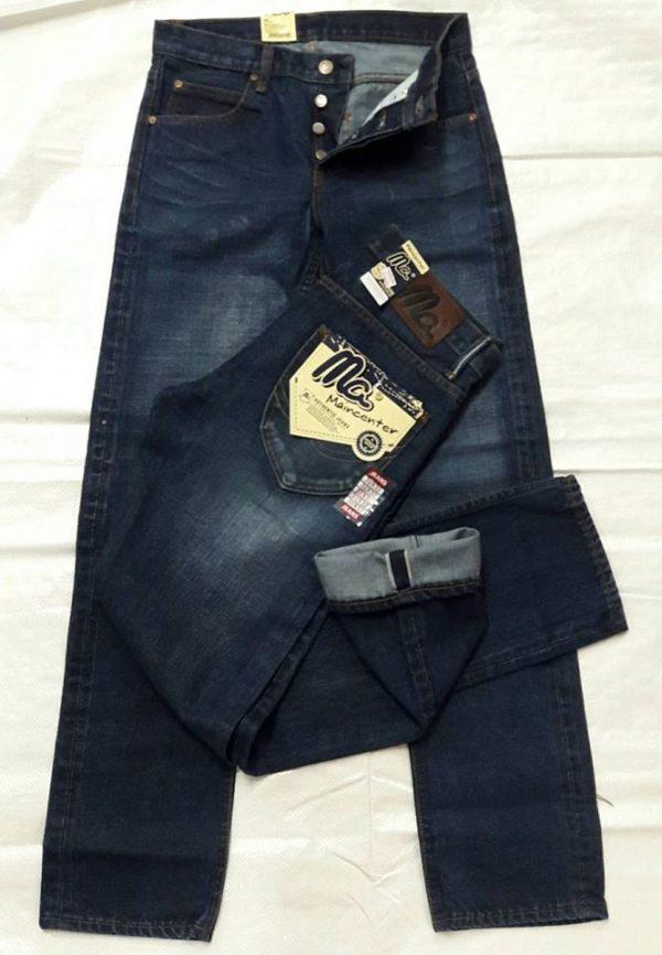 กางเกงยีนส์ชายทรงกระบอกตรงผ้าดิบ Mcสีฟอก