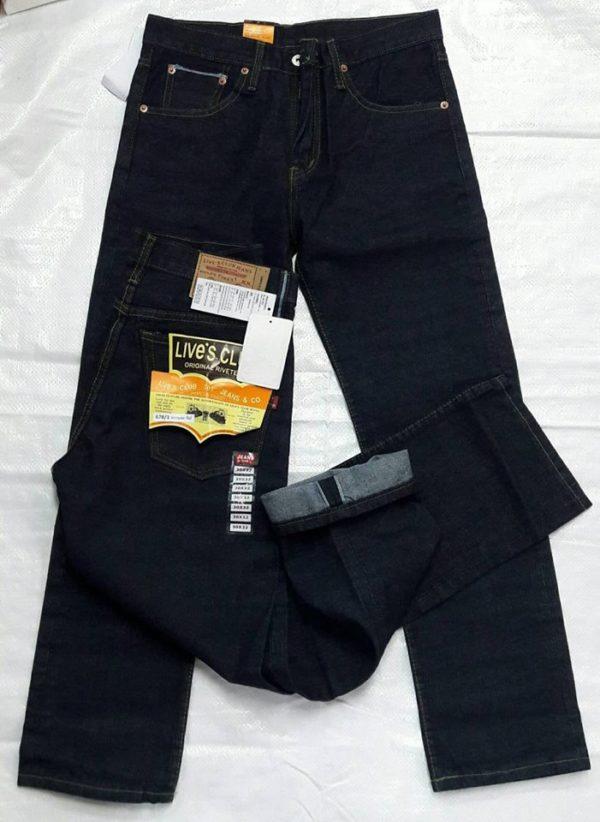 กางเกงยีนส์ชายทรงกระบอกตรงลีวายสีดำ